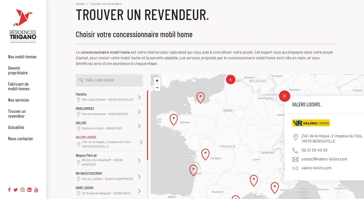 Carte interactive des revendeurs de mobil homes