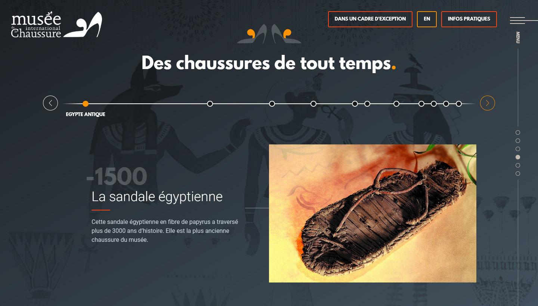Timeline du site du Musée de la chaussure