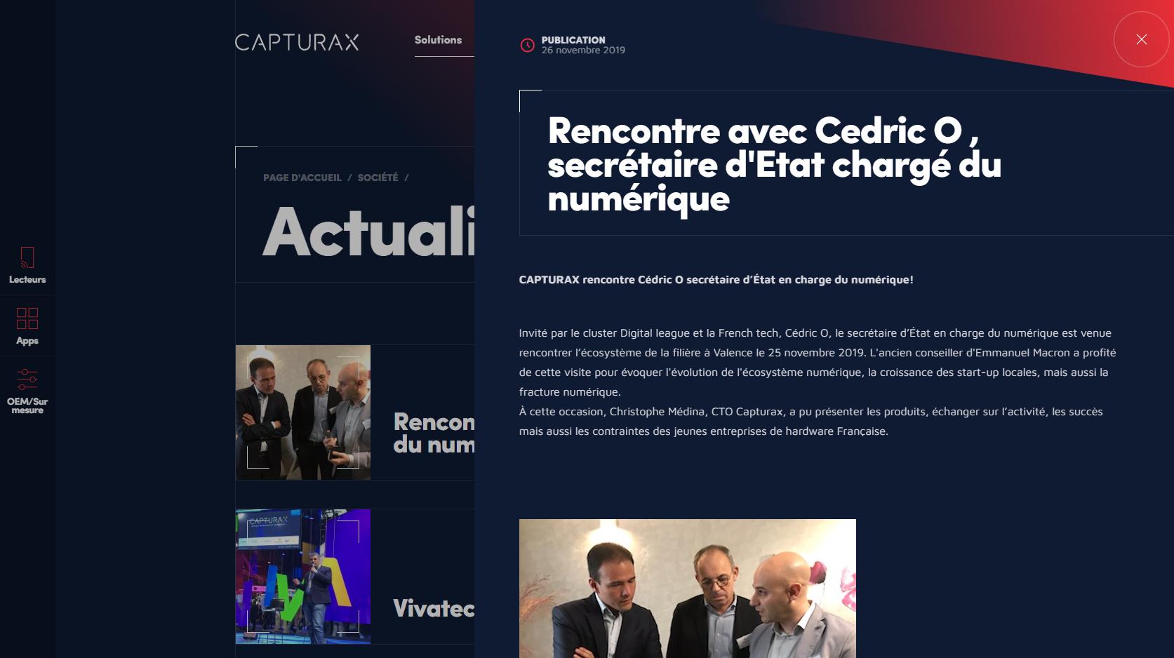 Panels actualités Site web capturax