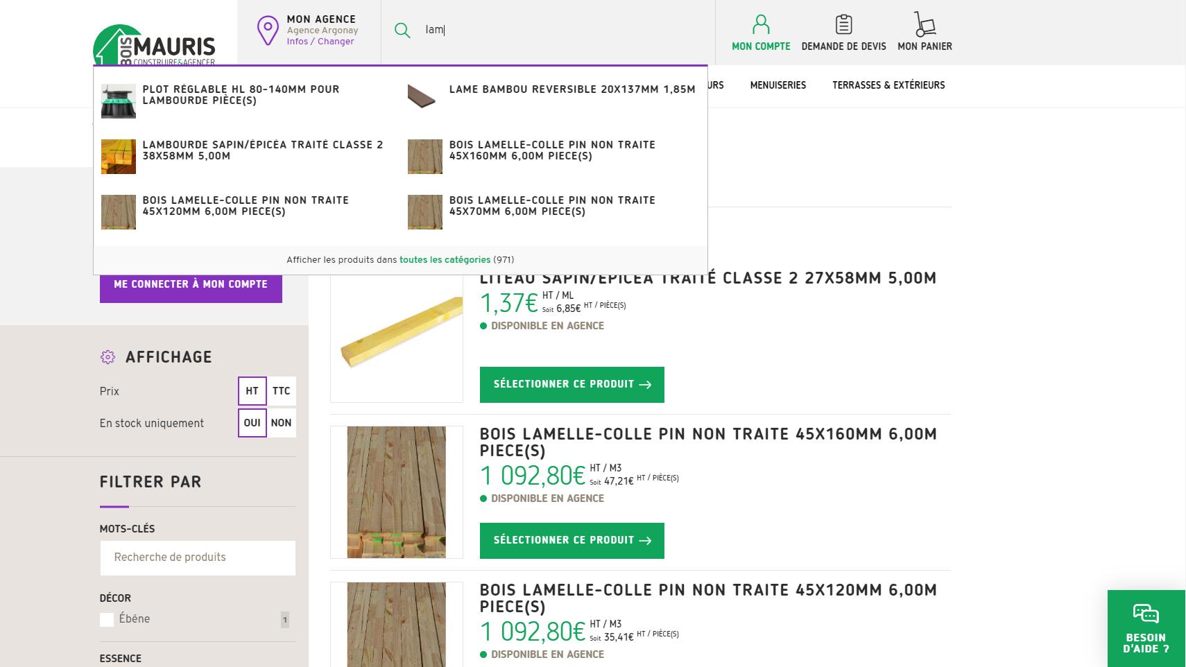 Moteur de recherche Algolia - site ecommerce Mauris Bois