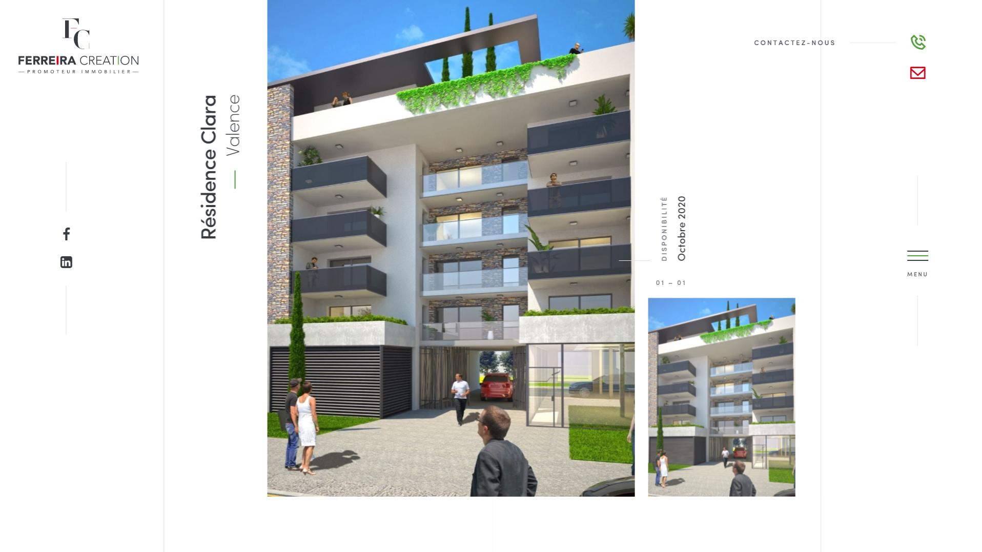 Page d'accueil du site Ferreira Création