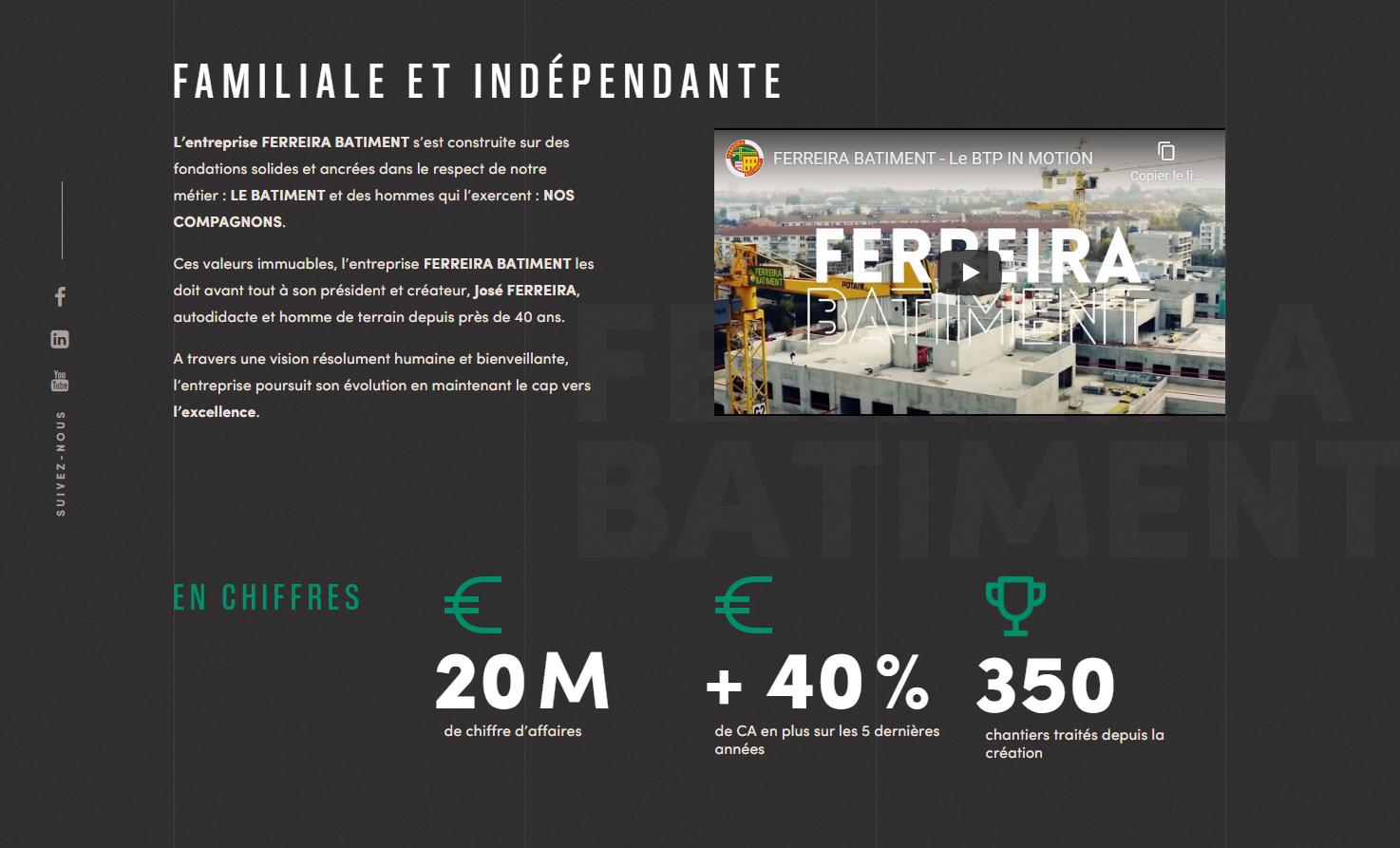 Typographie et iconographie du site Ferreira Bâtiment