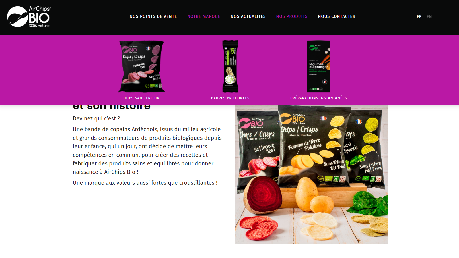 Mega menu du site AirChips