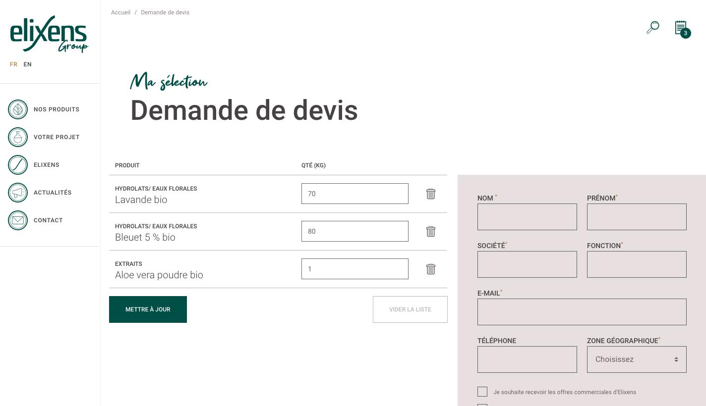 outils de demande de devis sur le site Elixens