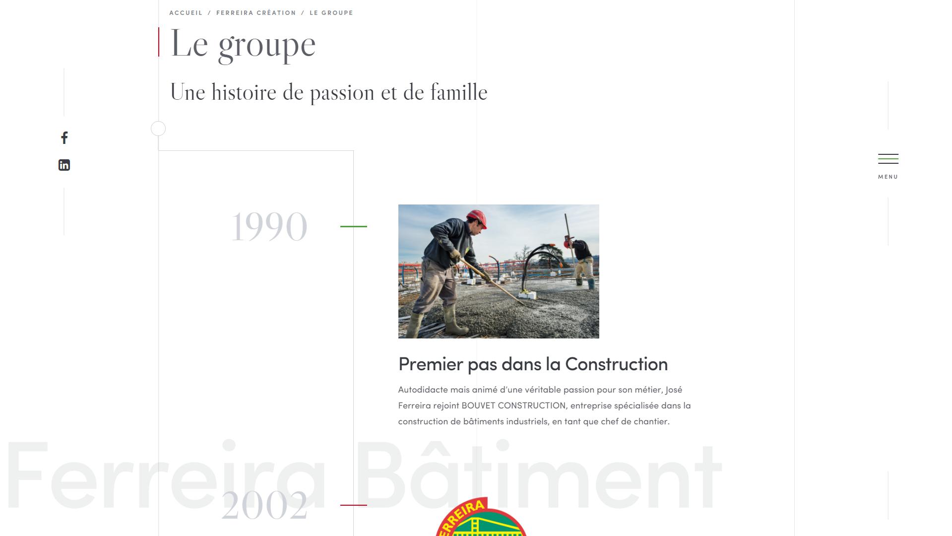 Page historique du site Ferreira Création