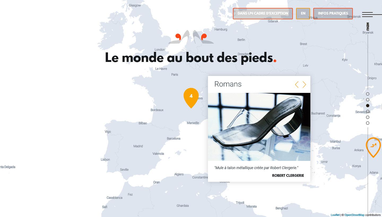 Carte interactive du site du Musée de la chaussure