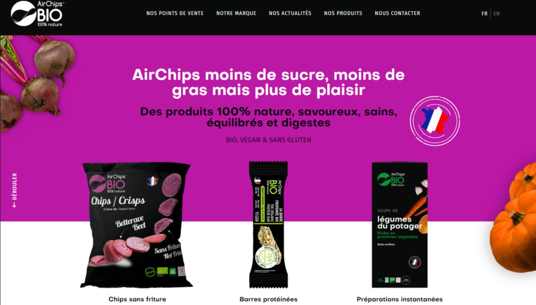 Page d'accueil du site AirChips