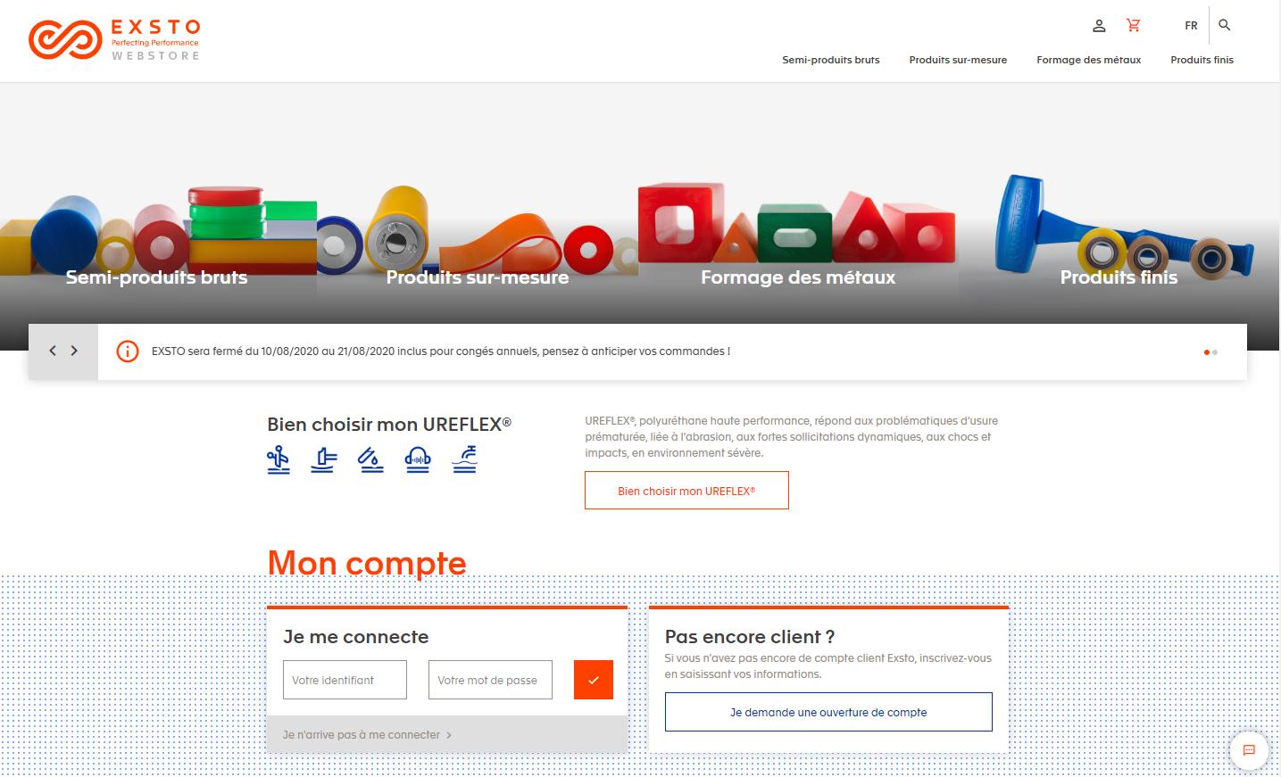 Page d'accueil du site ecommerce EXSTO