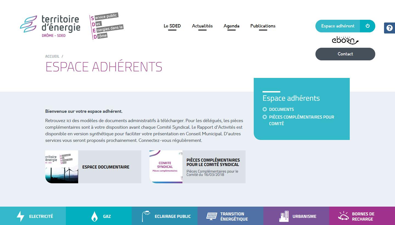 Espace adhérent du site du SDED