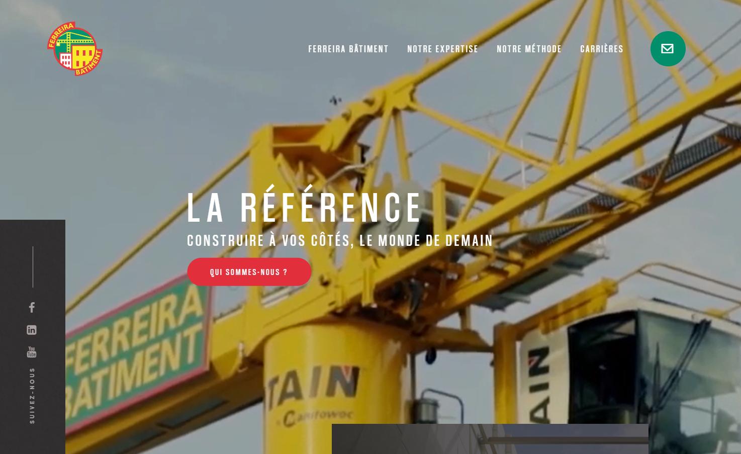 Page d'accueil du site b2b de Ferreira Bâtiment