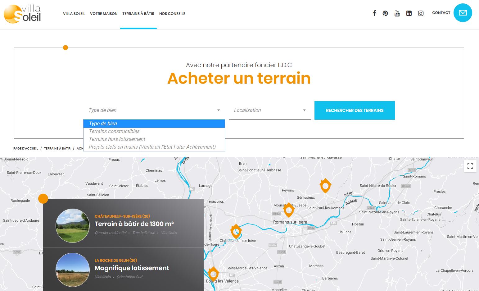 carte interactive sur-mesure du site Villa Soleil