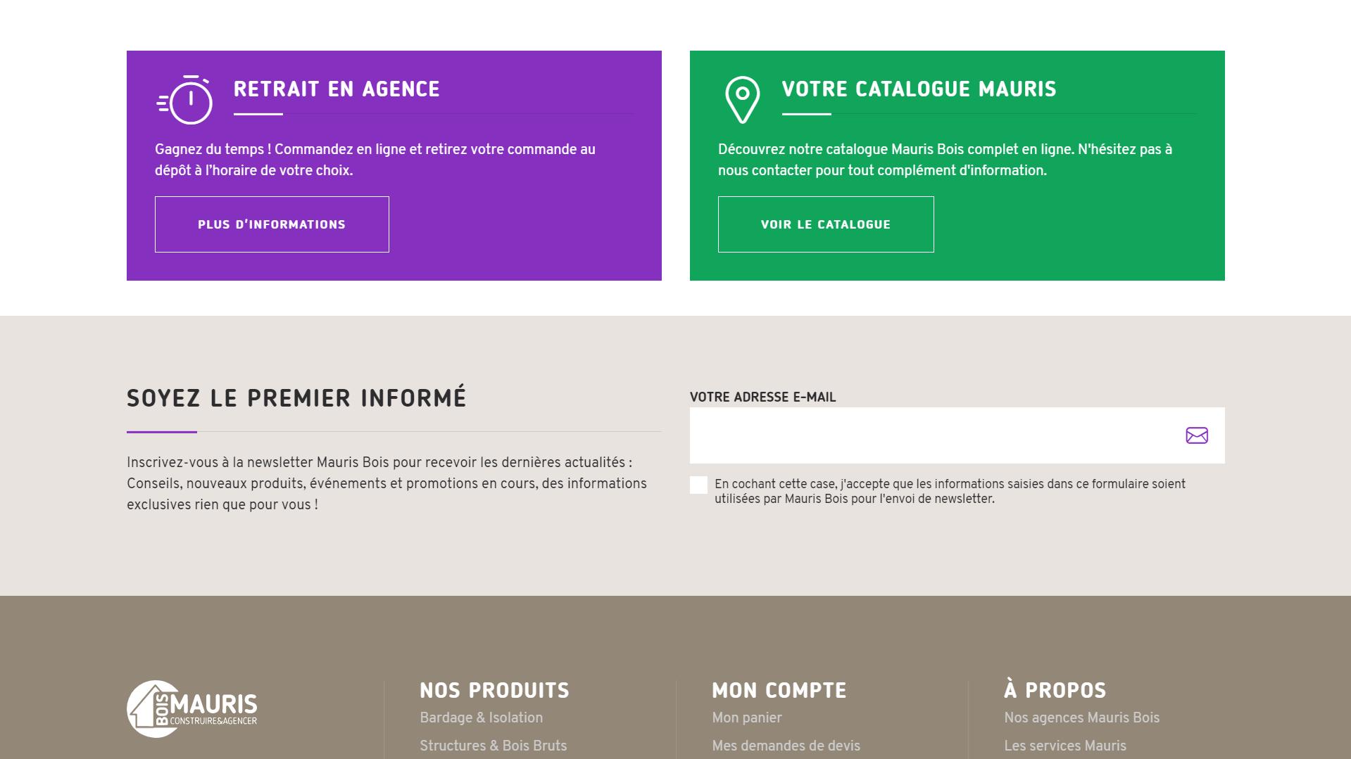 Newsletter - site ecommerce Mauris Bois